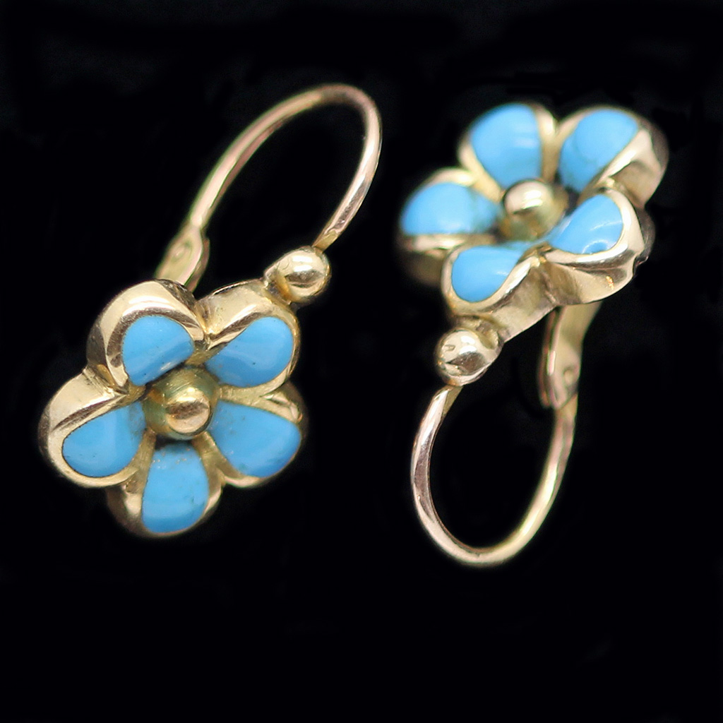 Antique Victorian French Earrings 18k Gold Turquoise Small Flowers(#6225)