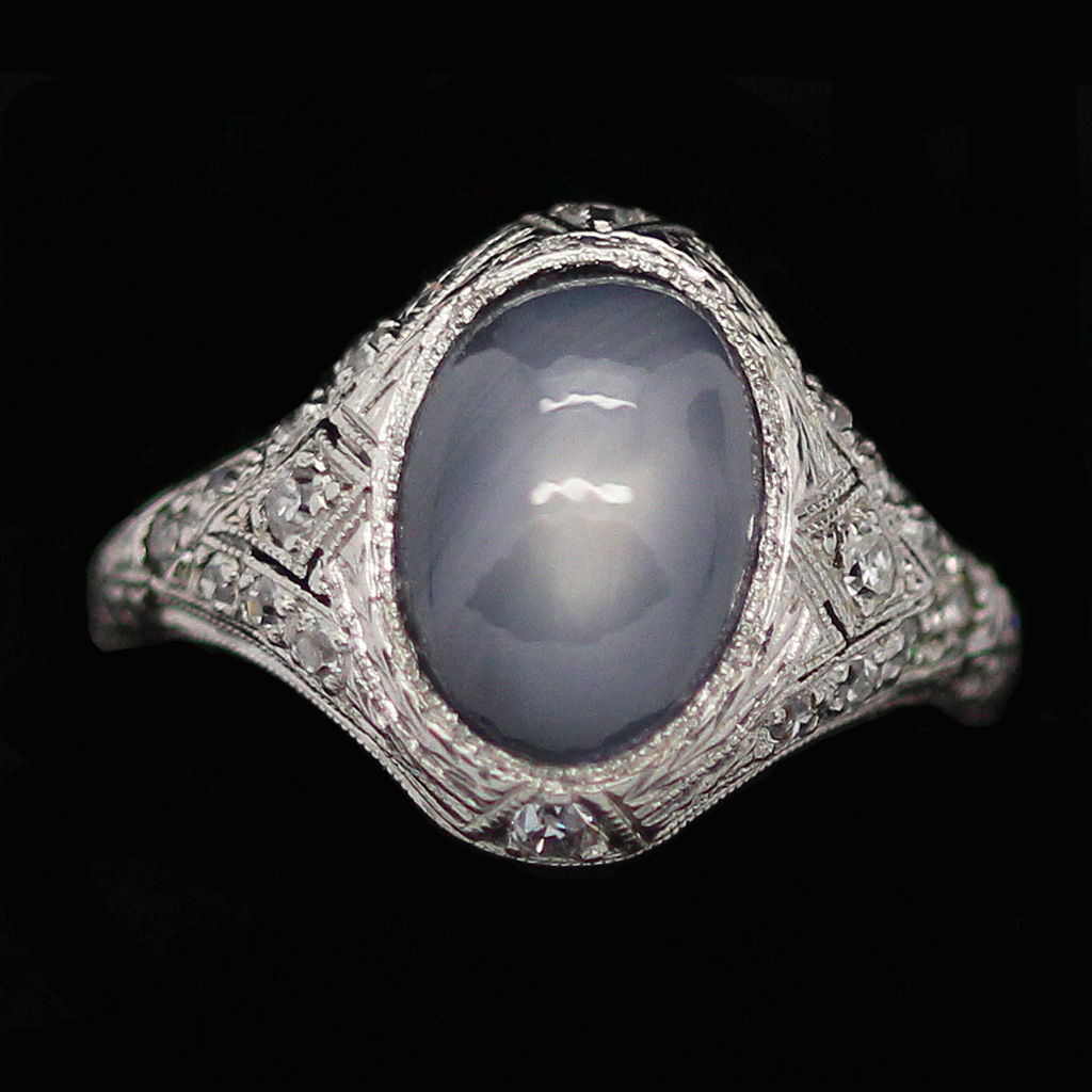 Antique Art Deco Ring Star Sapphire Diamonds Platinum