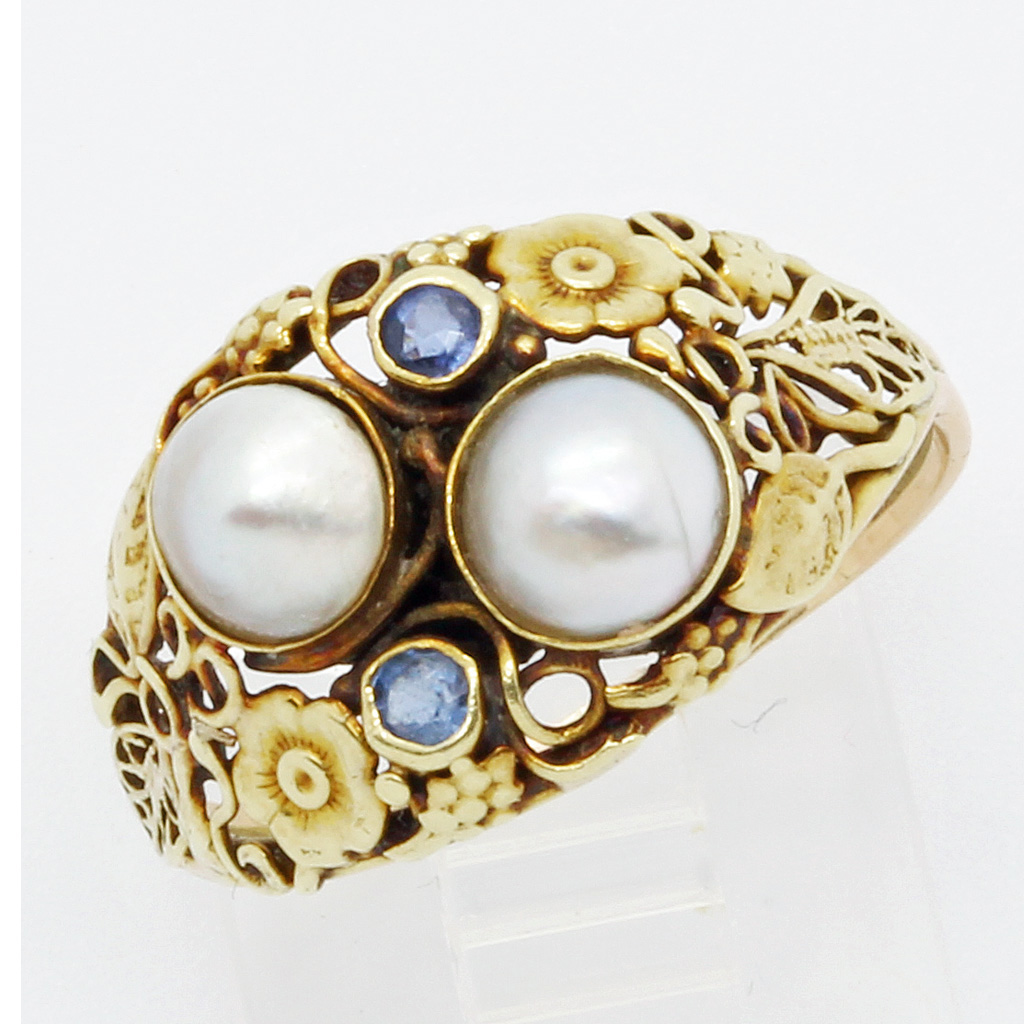 antique arts crafts ring 14k gold pearls topaz american
