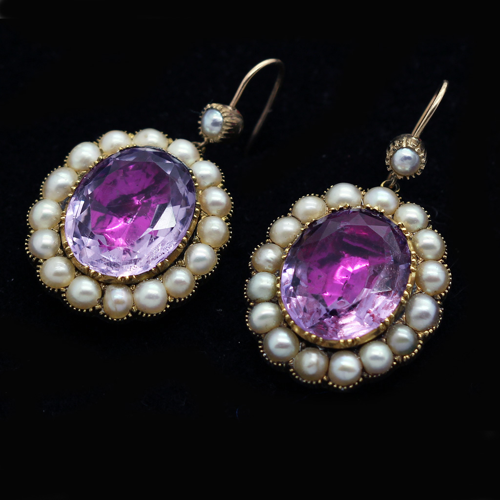 antique georgian earrings amethyst pearls 15ct gold drop. Black Bedroom Furniture Sets. Home Design Ideas